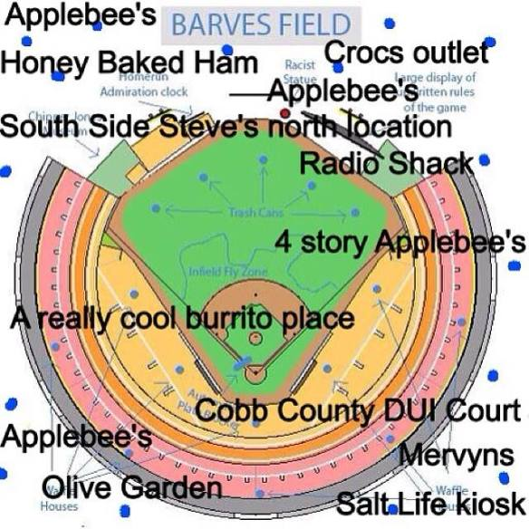 Preliminary designs for the new ballpark: Golden Corral We Buy Gold Stadium at Chipper Jones Alimony Field